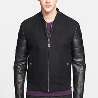 Men's Versace Collection Wool & Leather Moto Jacket,