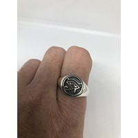 Vintage Gothic Sterling silver eye of Horus Mens Ring