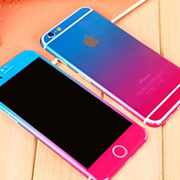 Sticker Decal for iPhone 6 Plus 5.5, Toeoe Full Body Gradient Protect Film Skin for iPhone 6 plus Blue Rose