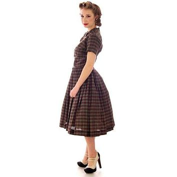Vintage Day Dress Bobbie Brooks Brown/Green Plaid 1950s 34-24-Free