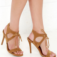 It's My Party Chestnut Brown Lace-Up Heels