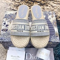DIOR Hot Sale Women Retro Canvas Embroidery Flat Slippers Sandals Shoes