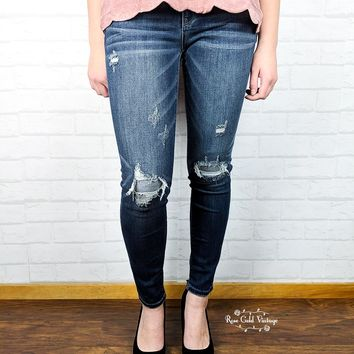 Denim Patch Skinny Jeans by Judy Blue - size 0 only