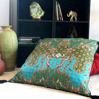 Teal And Green Indonesian Batik 30 inch Floor Cushions, Boho Pillows With Rolled Edges And Tassels, FREE Worldwide Shipping