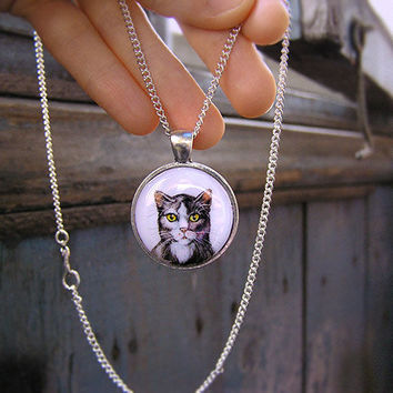 Animal Necklace Cat Portrait silvertone watercolor original hand painting, for cats lovers, grey and white, cat jewelry