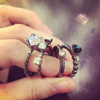 Gift New Arrival Jewelry Shiny Korean Accessory Decoration Stylish Strong Character Vintage Ring 4 Piece Set [11400146836]