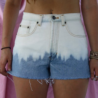 Vintage High Waisted Ombre Dip Dyed Bleached Denim Shorts