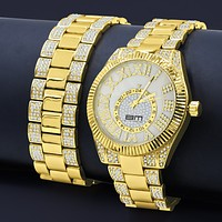 BLING MASTER PROTUBERANT ICED OUT WATCH SET