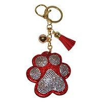 Paw Print Keychain for Women Dog Purse Charm Backpack Charm - Red