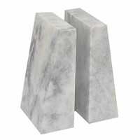 34128 Soothing Marble Bookend - White - Benzara