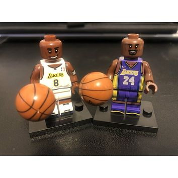 Block Figure Basketball NBA LA Lakers Kobe Bryant #24 Purple #8 White Jersey