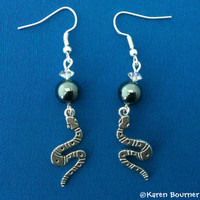 Hematite and Serpent Snake Pagan Wiccan Earrings