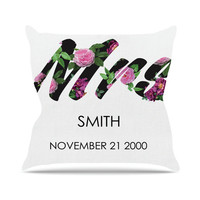 CUSTOM NAME and DATE White Purple Floral Fiancee Wedding Gift Bride Future Mrs Throw Pillows