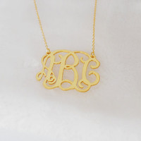 Monogram Initial Necklace 1.25 inch,Gold Monogram Necklace,Personalized Nameplate Necklace,Monogram Jewelry For The Bride And Bridesmaids