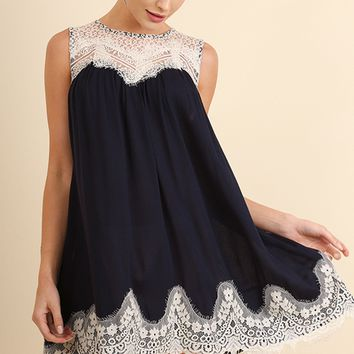 Navy Crinkle Dress with Eyelash Lace Detail