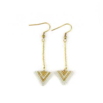 Ivory and Gold Miyuki Triangle Dangle Earrings
