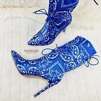 "Bandanna Madness Drawstring 4"" Stiletto High Heel Mid Calf Boots 7-11 Blue"