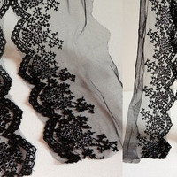 black Embroidery Tulle Lace Trim for Jewlery Supplies, Bridal Supplies,1 yard romantic embroidery lace
