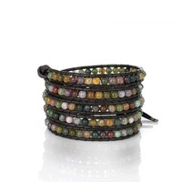 Beautiful Agate Gemstones 5 x Leather Wrap Bracelet Earth Colors with S.steel Button