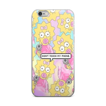 Maggie Simpson Collage Maggie With A Gun Dont Touch My Phone The Simpsons Tie Dye Bleach Sky Blue & Pink iPhone 4 4s 5 5s 5C 6 6s 6 Plus 6s Plus 7 & 7 Plus Case