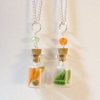 Best Friends Peas and Carrots Miniature Food Pendants Necklaces - Miniature Food Jewelry, Handmade Jewelry Necklace, BFF