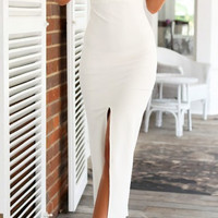 White Deep V-Neckline Low Cut V-Back Maxi Dress with Slit Detail