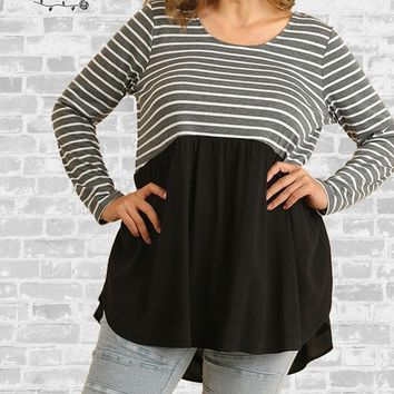 Striped Babydoll Tunic - Black / Charcoal