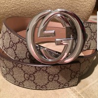 """Authentic Men's Gucci 38"""" Leather Belt GG Buckle Silver"""