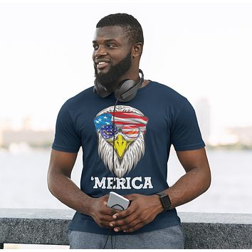 Men's Funny 4th July T Shirt Merica Shirt Eagle Head Band Shirt Patriotic America Shirt Bandana Flag Shirt Hipster Shirt