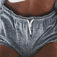 Grey Drawstring Waist Binding Shorts