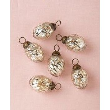 6 Pack   Mercury Glass Mini Ornaments (1 to 1.5-Inch, Silver, Lois Design) - Great Gift Idea, Vintage-Style Decorations for Christmas and Home Decor