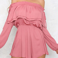 Pink Off-Shoulder Long Sleeveless Drawstring Playsuits from mobile - US$23.95 -YOINS