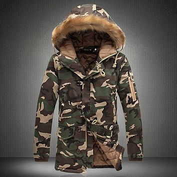 Camouflage Parkas Winter Jacket Men Military Style Medium-long Hooded Winter Coat Cotton-Padded Warm Jackets