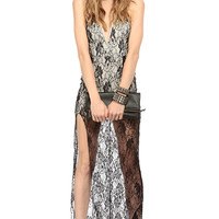 Black Plunging Lace Body Con Maxi Dress