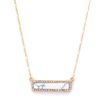Sparkly Bar Pendant - White