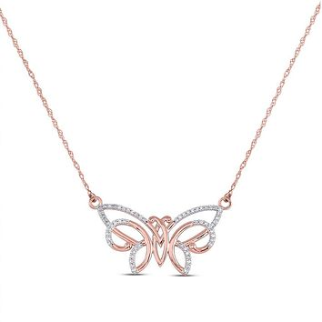 10k Rose Gold Round Diamond Butterfly Bug Pendant Necklace 1/5 Cttw