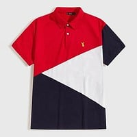 Fashion Casual Men Deer Embroidered Colorblock Polo Shirt