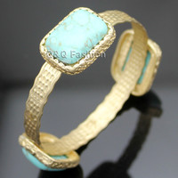 Vintage Gold Tribal Triple Turquoise Stone Navajo Zuni Bracelet Bangle Cuff Jewelry Free Shipping