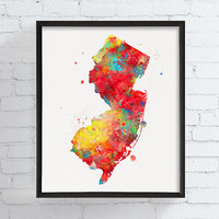 New Jersey State Art, New Jersey Map, Watercolor Map, New Jersey Poster, State Wall Decor, New Jersey Art Print, Dorm Decor, Office Decor