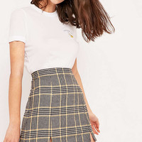 Urban Outfitters Notched Hem Checked Skirt - Urban Outfitters