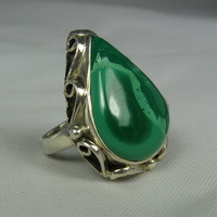 Vintage Pear Cut Malachite Ring 6 Sterling Silver