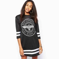 "Black ""Boy London"" Print Hockey Dress"