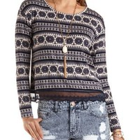 Navy Combo Lace Trim Medallion Print Crop Top by Charlotte Russe