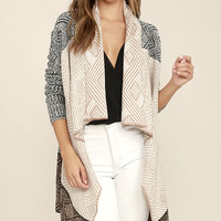 Amuse Society Aven Beige and Black Print Cardigan Sweater