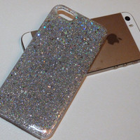 Silver Holographic Glitter Iphone 5 case 5s case 4 4s 5c 6 6plus Case cover, Glittery Sparkly bling case cover Real glitter. Hard resin.