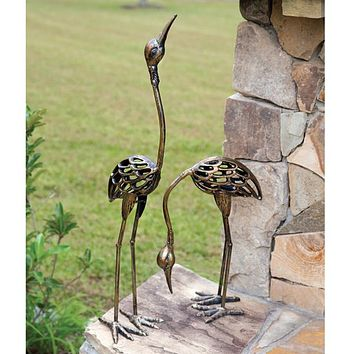 Set of 2 Crane Statues