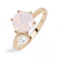Junior Women's BP. Stone & Pearly Bead Ring - Pink/ Gold