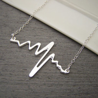 Hearbeat Pulse Bar Charm Sterling Silver Necklace Simple Jewelry / Gift for Her