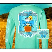 Country Life Outfitters Southern Attitude Sweet Tea Mason Jar Bow Vintage Girlie Bright Long Sleeves T Shirt
