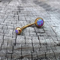 "Rose gold belly button ring opal ring purple opals belly captive 14g 1/2"" navel piercing curved barbell internally threaded stone belly ring"